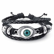 MENDINO Men's Women's Alloy Leather Bracelet Handmade Tribal Blue Evil Eye Cuff