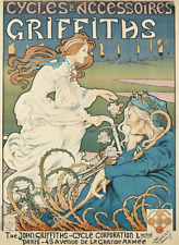 Griffiths Cycles stunning art nouveau original litho poster 1898 Henri Thiriet