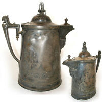 """13"""" ANTIQUE 1854 REED & BARTON SILVER Plate Etched SILVERPLATE Ice Water PITCHER"""