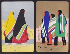 2 Single VINTAGE Swap/Playing Cards PEOPLE INDIANS PUEBLO Gold/Silver