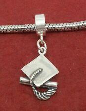Sterling Silver Graduation Charm fits Bracelet Solid 925 New hat mortar board