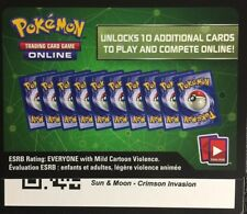 2x Sun and Moon Crimson Invasion Booster Pack Codes Pokemon TCG online card!