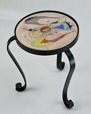 Petite table céramique de Vallauris Marie Christine TREINEN oiseau années 50