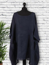 Made in Italy Ladies Italian Linen Tunic Top Plus Size 22 24 26 28 30 32