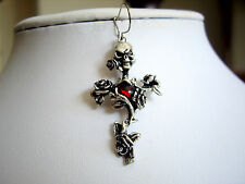 Alchemy Gothic Jewellery Rose Thorn Cross Skull Red Crystal Pewter Earring E130