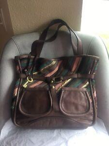 Fossil Fifty Four Brown Multi Patchwork Bucket Bag Tote Shoulder Handbag Purse