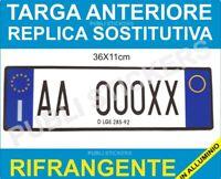 TARGA AUTO REPLICA SOSTITUTIVA ANTERIORE IN ALLUMINIO ART. 102  D.LGS 285/92