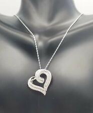 Women's Genuine 925 Sterling Silver Baguette HEART Cubic Pendant Charm Chain Set