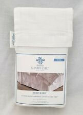 Simply Shabby Chic FULL Size White Embroidered Linen Blend Bedskirt NEW!
