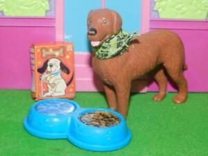 Dollhouse Miniature Labrador Dog Feeding Dish and Food Fits Fisher Price Doll