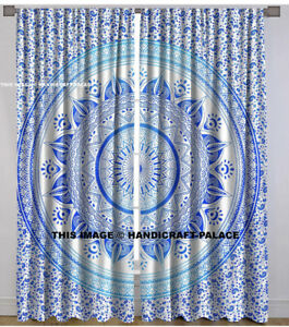 "2-Panel Mandala Indian bohemian Curtains, Each panel 39""x84"", Blue And White"
