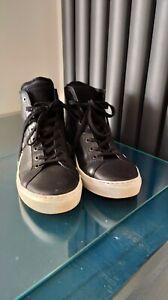 All Saints Black Leather Hi-top Trainers Shoes Size 7/41 *VGC*