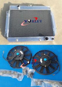 3 Row Aluminum radiator & fans For Chevy Impala L6 V8 1963-1968 EI Camino 1964