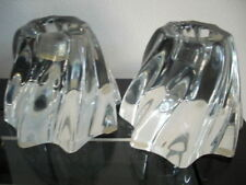 Baccarat FRANCE Candle Holders Swirl Clear Crystal Taper Holders Signed set of 2