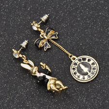 Women Asymmetric Rabbit Earring Kawaii Style Bow Clock Decor Jewelry Girl Gift