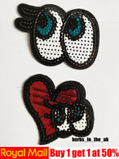 Red Blue Eye Patches Badges Iron On Sew On