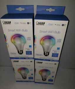 4 Pack FEIT Electric Smart WiFi LED Color Changing & Dimmable A19 60W Bulb
