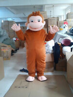 NEW Monkey Curious George Mascot Costume Fancy Dress Free shipping adult hot top