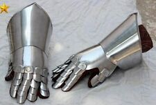 Medieval Knight Gauntlets Functional Armor Gloves Leather Steel SCA LARP GV5