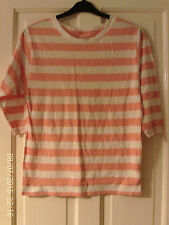 PEACH AND WHITE T SHIRT, BY GAP, AGED 10-11