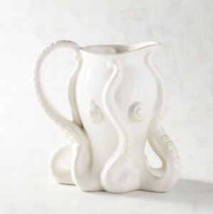 Pier 1 White Earthenware Ceramic Coastal Ocean Octopus Tentacle Pitcher NEW