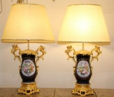 Pair of Sevres Style Vieux Paris Bronze Mounted Lamps Cobalt blue porcelain