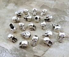20 Pewter Beads - 7mm SKULL with Large Vertical Hole- 5112