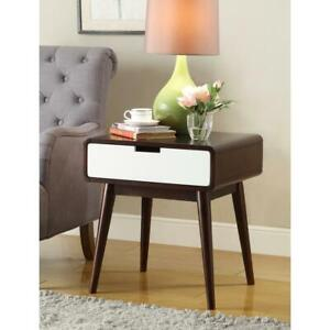 acme Christa Walnut and White Storage End Table