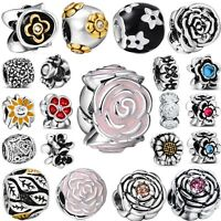 Brand Flowers Women Hot Silver Charms Bead Fit 3mm European Genuine 925 Bracelet