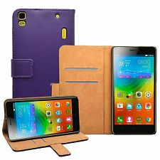Wallet PURPLE Leather Flip Case Cover Pouch For Lenovo K3 Note (K50-t5)