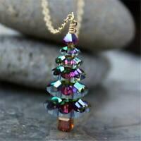 Christmas Tree Pendant Necklace Women Girls Cute Fashion Silver & Gold Jewelry