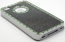for iphone 4 4s gold black silver 1, 2 or 3 case green stone glitter whole sale