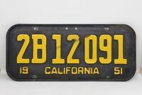 Vintage Black and Yellow California License Plate 1951