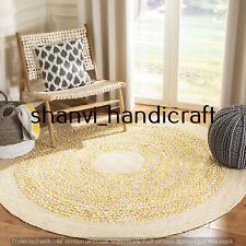Braided Round Natural multi Color 7 Feet Jute Rug Area Rugs Carpet Mats Handmade