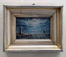 Ölgemälde auf Holz signiert ca.1880 Meer Schiffe Wolken Berliner Leiste