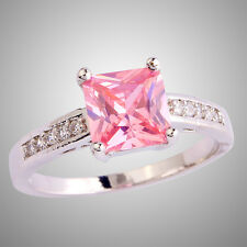 Wedding Bride Asscher Cut Pink & White Topaz Silver Ring Size N P R T Jewelry