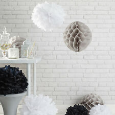 Set of 9 Black, White & Grey Pom Pom & Honeycomb Paper Hanging Party Decorations