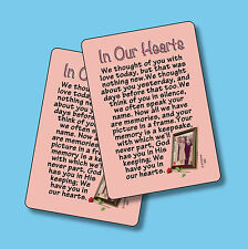 """""""In Our Hearts"""" - We Thought Of You With Love - Poem - 2 Verse Cards - SKU# 582"""