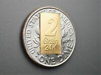 New 1/8 Gram Gold Bar  24K 999.9 Fine Gold Bullion Bar in sealed cert card A22