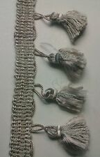 """High Quality 2"""" Dove Grey with Mauve Tint Tassel Fringe  Trim Sold BTY ,HDT 112"""