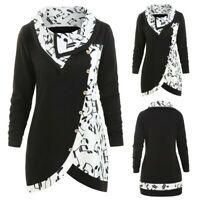 Women Cowl Neck Musical Notes Turtleneck Tunic Sweatshirt Pullover Tops Blouse