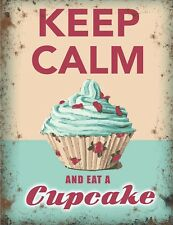 Vintage Style Metal Sign Keep Calm And Eat A Cupcake Funny Kitchen Home Plaque