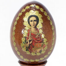 """4"""" RUSSIAN EASTER JESUS CHRIST ICON RELIGIOUS WOODEN EGG WITH STAND"""