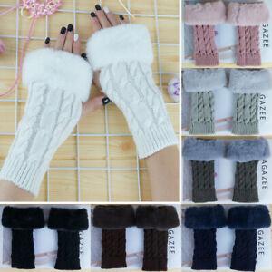 Ladies Winter Warm Fingerless Gloves Mittens Warmer Knitted Arm Fur Trims NEW