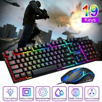 Ergonomic Wired Gaming Keyboard Mouse Mechanical LED Backlit For PC Gamer Laptop