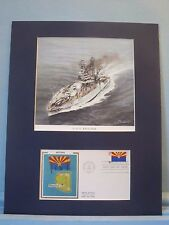 The USS Arizona is sunk at Pearl Harbor & First Day Cover of Arizona Statehood