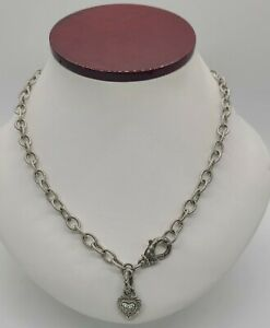 """Ladies 18"""" Judith Ripka Sterling Silver Circle Link Necklace W/ Diamonique Heart"""