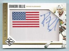 BRANDON BOLLIG 2012/13 LIMITED PHENOMS USA PATCH AUTOGRAPH AUTO /25 BLACK HAWKS