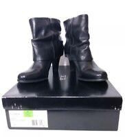 BCBG Paris Black Leather Fold Over Ankle Fashion Heel Boots Booties Womens SZ 9M