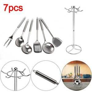 7 Piece Cooking Utensil Set Stainless Steel Kitchen Gadget Tool Metal Handles UK